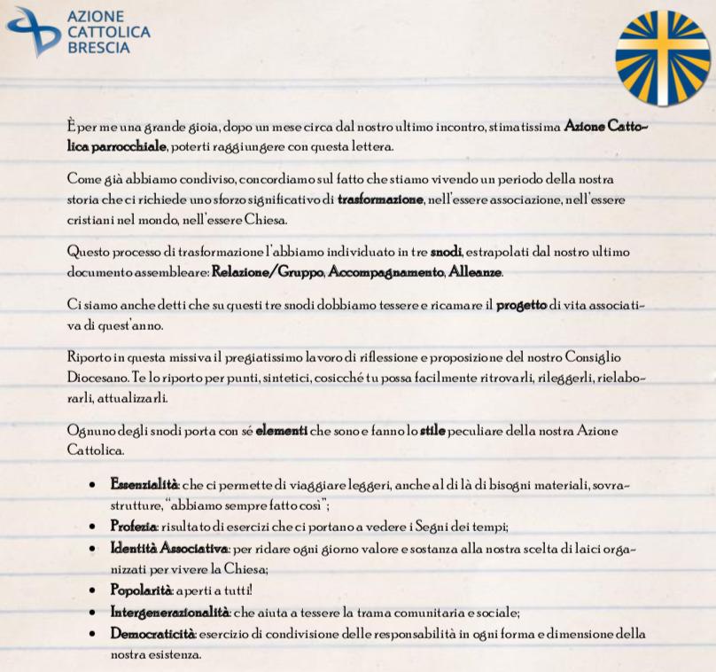 Lettera alle associazioni parrocchiali