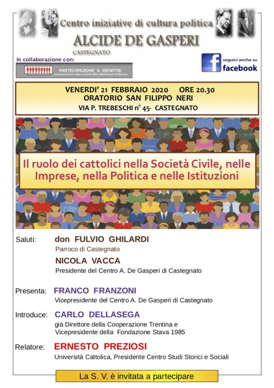 Il ruolo dei cattolici nella Società Civile, nelle Imprese, nella Politica e nelle Istituzioni a Castegnato