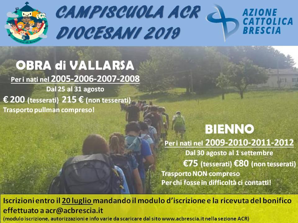 Campi estivi diocesani ACR 2019